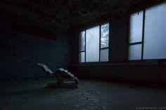 Adam X Urbex Urban Exploration Germany Blue Hospital Soviet Russian Abandoned Lost Decay Hidden chair night dark Operating medical army military