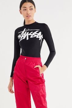 1442a42632 Check out Stussy Nylon Stock Logo Long Sleeve Tee from Urban Outfitters  Stussy, Long Sleeve