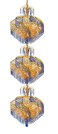 Elegant Lighting - 8053 Spiral Collection Large Hanging Fixture D18in H56in Lt:24 Gold. Like a deluxe piece of jewelry, the Spiral Collection is dripping with highly faceted crystal strands. The crystals strands are draped around the body in an alluring design to provide optimum radiance. This chandelier will add a touch of glamour to your décor.Specifications:  Style Transitional   Collection Spiral    Chain/Wire Included  5 ft.    Light Blubs  24    Bulb Type  E12    Bulb Wattage  40…