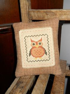 Finished Cross Stitch Fall Owl on Wool Pillow by easterhillprims, $12.95