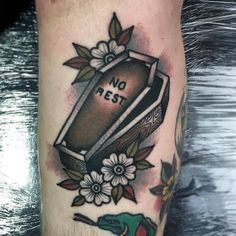 Traditional style tattoo of a coffin and words 'no rest' on it Future Tattoos, Love Tattoos, Body Art Tattoos, New Tattoos, Old Style Tattoos, Pretty Tattoos, Hand Tattoos, Tatoos, Traditional Style Tattoo