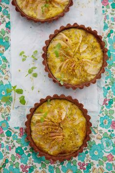 // Pear and pistachio custard baked in a hazelnut chocolate crust
