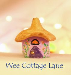 Flower Covered Gnome Home, Tiny House, Ceramic House, Mini Cottage, Miniature Cottage, Wee Cottage Lane, Tiny, Miniature Home