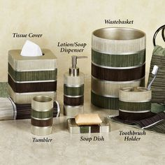 Modern Line Sage Striped Bath Accessories 14 50 Per Item With Matching Shower Curtain Towels Available From Touchofcl