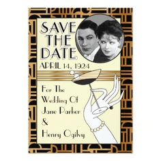 Art Deco Save The Date Photo Cards | Gold V