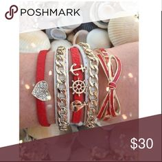 """Bracelet Nautical Red Love Sailboat Heart Bow A red synthetic leather skinny bracelet with a small sparkling rhinestone heart. Approx. 7"""" length. Magnetic closure.  A white synthetic leather wrap bracelet that wraps around the wrist two times & has an adjustable belt buckle style closure. Decorated w/ a gold chain. Approx. 17"""" length.  Red synthetic leather skinny wrap bracelet w/ three small nautical themed ornaments - anchor, ships wheel & a sailboat. Approx. 7"""" length. Magnetic closure  A…"""