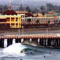 Santa Cruz CA: Scoping over Cowell's Beach at the Santa Cruz Beach Boardwalk. #cowellsbeach #santacruzbeachboardwalk #santacruzwharf #california #cali #CA #surfcity #surf #stormyweather #waves #santacruz #beach #ocean #westcoast #norcal #groms #goldenstate #californiacoast #caliborn #california_igers #santacruzca #elnino #briancollierphotography by calthenticclothing