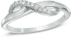 Zales Diamond Accent Infinity Midi Ring in Sterling Silver