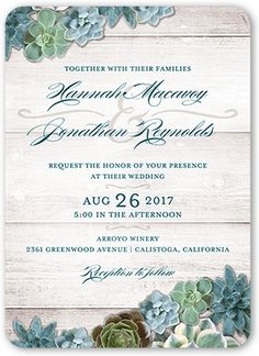 Splendid Succulents 5x7 Wedding Invitations by Yours Truly