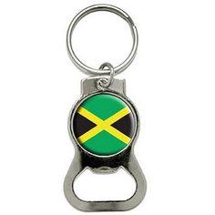 Jamaica Jamaican Flag Bottle Cap Opener Keychain Ring, Silver