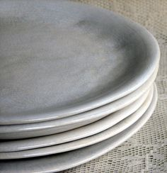 Handmade organic dinner plate set white crackle dinner plates stoneware set of six custom dinnerware by Leslie Freeman & Charcoal Stoneware Side plates - Small Plates 5 inches wide - stone ...