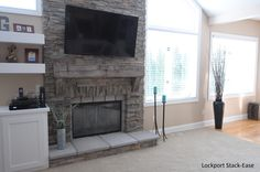 Stoned Fireplace Lockport Stack-Ease with Barn Beam Mantle J&N Stone