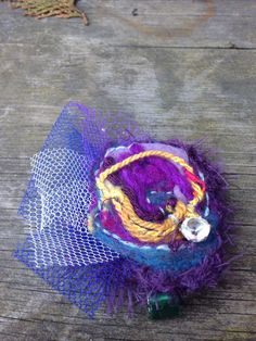Jeweled Purple Hair Piece / Hair Clip : made with upcycled materials and scrap fibers