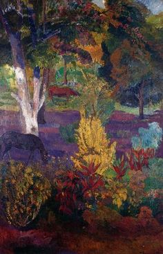 Marquesan Landscape with Horses by Paul Gauguin in oil on canvas, done in Now in a private collection. Find a fine art print of this Paul Gauguin painting. Paul Gauguin, Henri Matisse, Impressionist Artists, Illustration Art, Illustrations, Inspiration Art, Paintings I Love, Art For Art Sake, Kandinsky