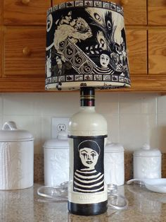 1.75 Lt Ketel One Liquor Bottle Lamp (Curtain Call Shade;Mime/Comedy/Tragedy) #KetelOne