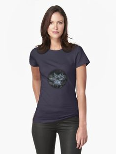 Women's fitted t-shirt with real snowflake photo. Cluster of three stellar dendrite snowflakes, sparkling on dark gray wool background. • Also buy this artwork on apparel, stickers, phone cases, and more.