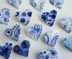 Blue & white porcelain hearts, by Harriet Damave
