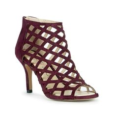 Luxurious suede caged heel with plush foam cushioning for all-day comfort