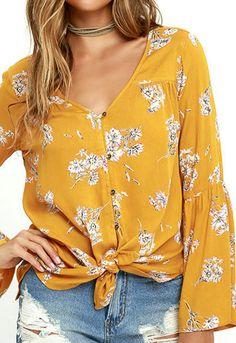 BILLABONG Billabong Forget Me Knot Golden Yellow Floral Print Top