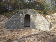 Beautiful root cellar with cement facade