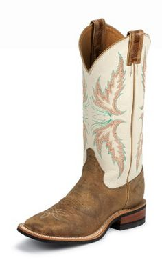 womens square toe boots | Justin Womens Bent Rail Tan and Ivory Square Toe Cowgirl Boots