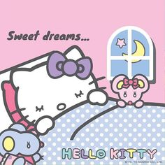 hello_kitty_lovers: Good night and sweet dreams kittyfriends🌟 . Sanrio Wallpaper, Hello Kitty Wallpaper, Hello Kitty Imagenes, Hello Kitty House, Hello Kitty Clothes, Hello Kitty Pictures, Miss Kitty, Hello Kitty Collection, Tatty Teddy
