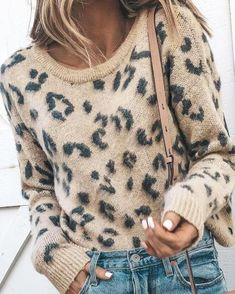 Shop the latest collection of HZSONNE Women's Casual Leopard Crew Neck Loose Fit Sweater Long Sleeve Slouchy Pullover Knitted Fuzzy Jumper Tops from the most popular stores - all in one place. Similar products are available. Sweaters Outfits, Casual Sweaters, Long Sweaters, Pullover Sweaters, Slouchy Sweater, Cute Sweaters For Fall, Sweater Dresses, Winter Sweaters, Sweaters For Women
