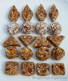 Crunchy Sticky Bites that taste like nougat - made with dates, toasted nuts, coconut and peanut butter. Vegan. Gluten-free.