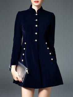 D. FANNI Buttong Stand Collar Mini Dress