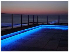 Outdoor LED strip light examples and ideas. Photos of LED strip light installs using outdoor rated LED strips in silicon sheeths Dock Lighting, Best Outdoor Lighting, Balcony Lighting, Linear Lighting, Landscape Lighting, Strip Lighting, Lighting Ideas, Modern Deck Lighting, House Lighting