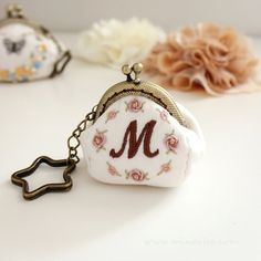 Initial Coin Purse Letter M Frame purse Embroidery by MinaRha