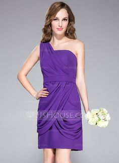 Sheath/Column One-Shoulder Knee-Length Chiffon Bridesmaid Dress With Ruffle (007037176)