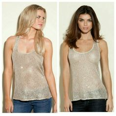 Guess Sleeveles Top Champagne Sparkle Tank Beautiful shimmering Guess tank top with tiny sparkle effect champagne shimmery color. NWT I still have invoice, I paid $83.11 with taxes and shipping.  Item never worn, gorgeous top! Guess Tops