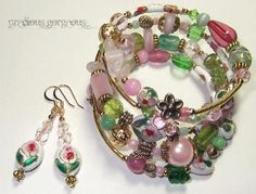 Pretty pink, green and white Cloisonne beaded wrap bangle and earrings