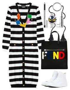 """""""Moschino stripped long cardigan"""" by thestyleartisan ❤ liked on Polyvore featuring Boutique Moschino, Converse, Fendi, Agent Provocateur, Flo, women's clothing, women, female, woman and misses"""