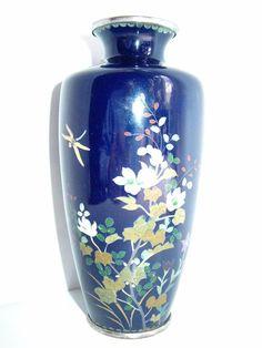 Japanese silver wire cloisonne Meiji Taisho period vase blue & flowers C1900s