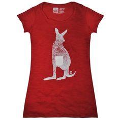 Camiseta feminina KANGAROO, modelagem longa