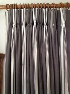 Stripe Curtains Hand Finished With Double Pinch Pleat Heading Romo Fabric