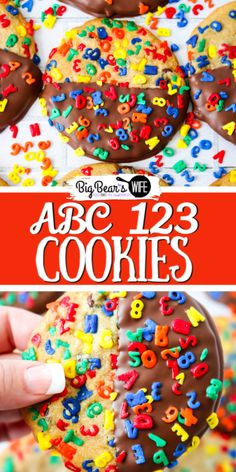 These Chocolate Dipped ABC 123 Chocolate Chip Cookies are a super colorful Back to School treat that's perfect for both kids and adults!