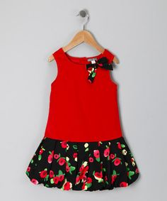 Take a look at this Red Floral Drop-Waist Dress - Toddler & Girls by Petit Confection on #zulily today!