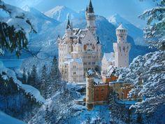 """Castillo de Neuschwanstein construido por el Rey Ludwig II sobre la peña de Hohenschwangau. Baviera. Alemania. Siglo XIX: La primera piedra se coloca el 5 de septiembre de 1864. Promedio de visitantes anual: 1,3 millones de personas. Aforo máximo alcanzado por día: 8.000 personas. Fue elegido por Disney en 1959 para ambientar """"La Bella Durmiente"""". (3264×2448)"""