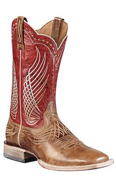 in Jeff's closet - Ariat® Mecate™ Men's Wildhorse Tan w/ Red Top Triple Welt Square Toe Western Boots | Cavender's Boot City
