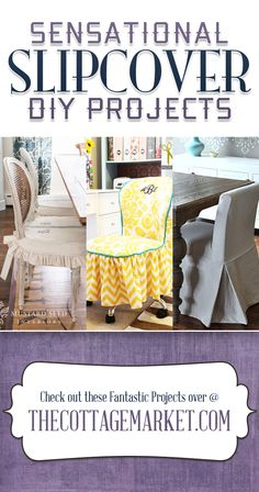 Sensational Slipcover DIY Projects {How to make Slipcovers} - The Cottage Market #SlipcoverDIY, #DIYSlipcovers, #SlipcoverDIYProjects