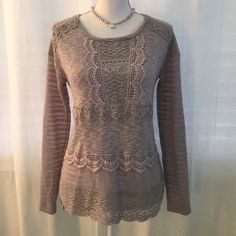 Anthropologie sweater with lace detail Grayish-blue lightweight sweater by One September. Really nice detail on this, from the stripes on the sleeves to the lace on the front and upper part of the back. NWOT. Anthropologie Sweaters