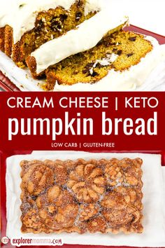 Moist and flavorful, cream cheese keto pumpkin bread is a pound cake style spiced sweet bread perfectly topped with sugar-free cream cheese frosting. The perfect low carb. breakfast, snack, or dessert. Pumpkin Cream Cheese Bread, Pumpkin Bread, Pumpkin Pie Spice, Pumpkin Puree, Cake Style, Blanched Almond Flour, Dessert Recipes, Keto Desserts, Fashion Cakes