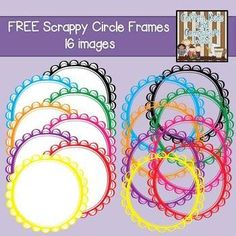 FREE Scrappy Circle Frames {Personal/Commercial Use} Borders And Frames, Free Frames, Digital Scrapbooking, Digital Papers, Classroom Decor, Classroom Clipart, Frame Clipart, Art Background, Cool Fonts