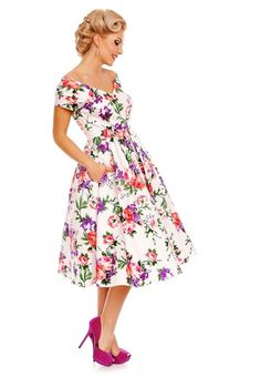 302a6ddbe197a www.bo-peep.ie Lily Off Shoulder 50 s Evening Dress in White Floral