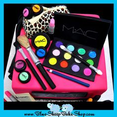 This awesome makeup themed cake was created for a sweet 16 birthday party. The cake is hot pink with a hand painted leopard sash and matching leopard make up bag. Fondant makeup props decorate the cake in excess! Black Urban Fashion, Urban Fashion Girls, Sweet 16 Birthday, 16th Birthday, Birthday Cakes, Birthday Ideas, Biscuit, Sweet 16 Cakes, Party