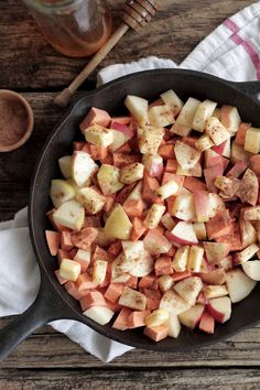 Seasonal apples and sweet potatoes make this yummy dish perfect for fall or anytime of the year. Apple and sweet potato bake come together to make this dish savory and sweet. Fall Recipes, Real Food Recipes, Veggie Recipes, Cooking Recipes, Yummy Food, Healthy Recipes, Tasty Dishes, Side Dishes, Clean Eating Recipes