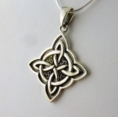 Sterling Silver Celtic Knot With 4 Triquetras by celtictreasures